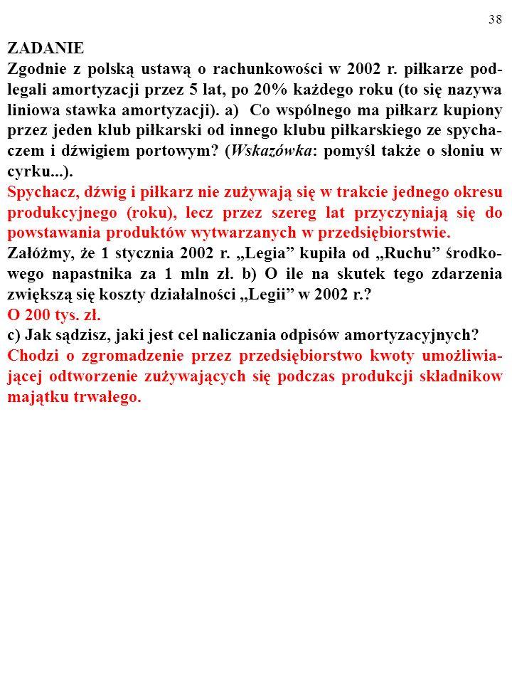 37 ZADANIE Zgodnie z polską ustawą o rachunkowości w 2002 r. piłkarze pod- legali amortyzacji przez 5 lat, po 20% każdego roku (to się nazywa liniowa