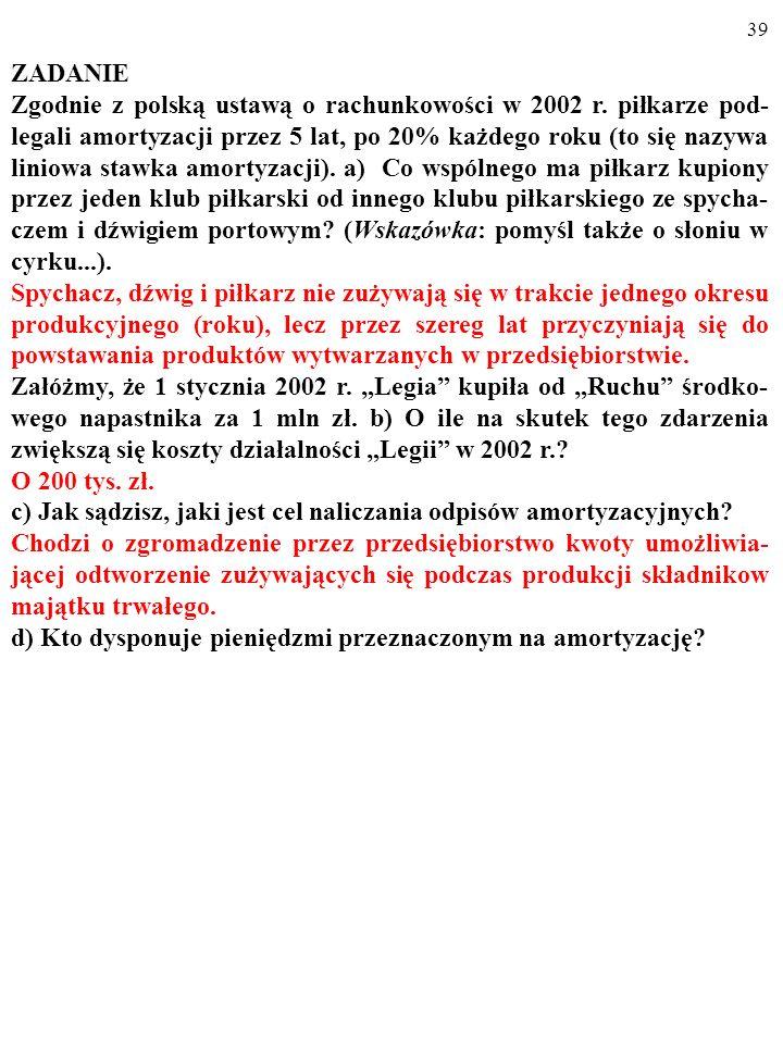 38 ZADANIE Zgodnie z polską ustawą o rachunkowości w 2002 r. piłkarze pod- legali amortyzacji przez 5 lat, po 20% każdego roku (to się nazywa liniowa