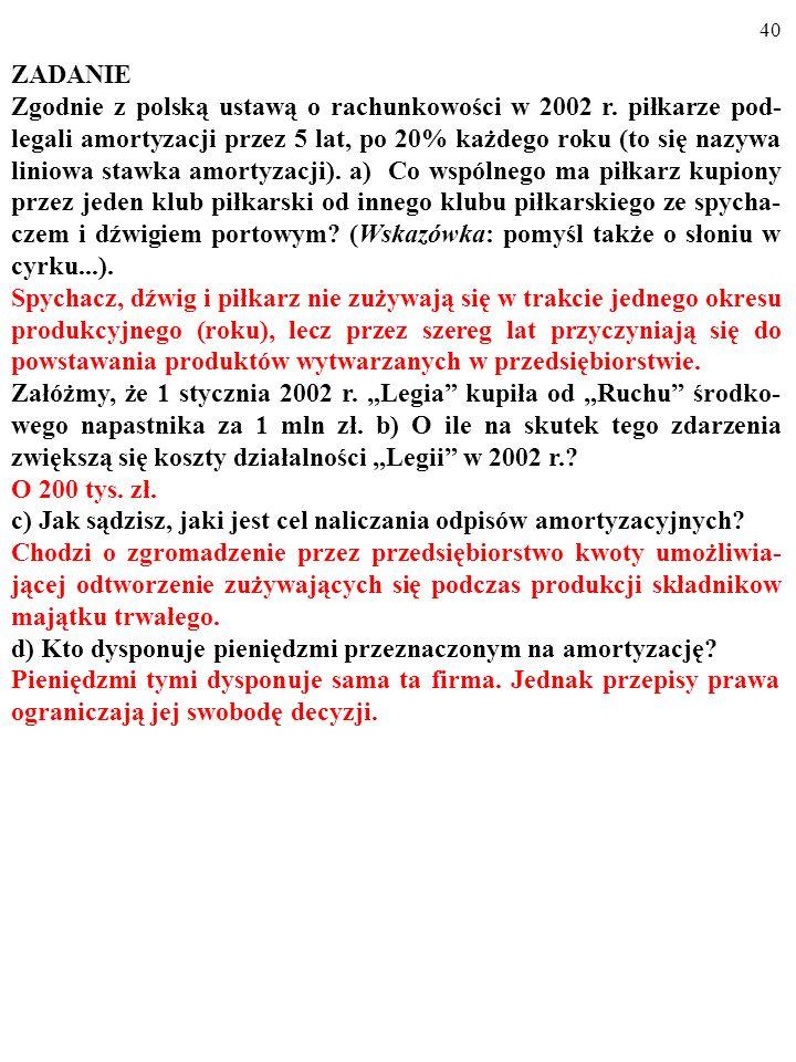 39 ZADANIE Zgodnie z polską ustawą o rachunkowości w 2002 r. piłkarze pod- legali amortyzacji przez 5 lat, po 20% każdego roku (to się nazywa liniowa