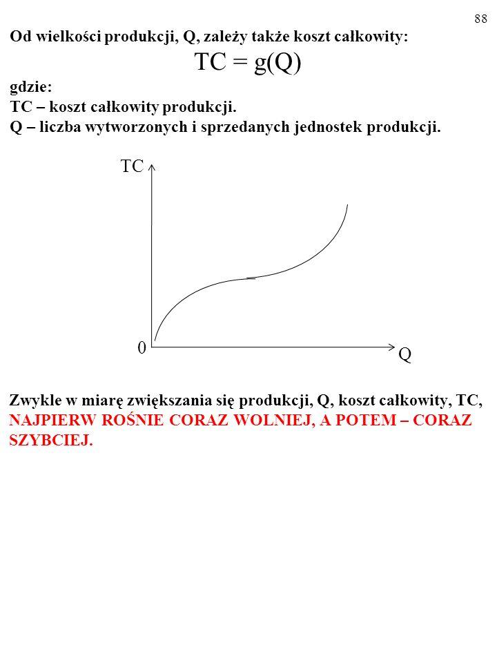 87 WIELKOŚĆ PRODUKCJI A KOSZTY PRZEDSIĘBIORSTWA KOSZT CAŁKOWITY Od wielkości produkcji, Q, zależy nie tylko utarg, lecz także koszt całkowity, TC (ang