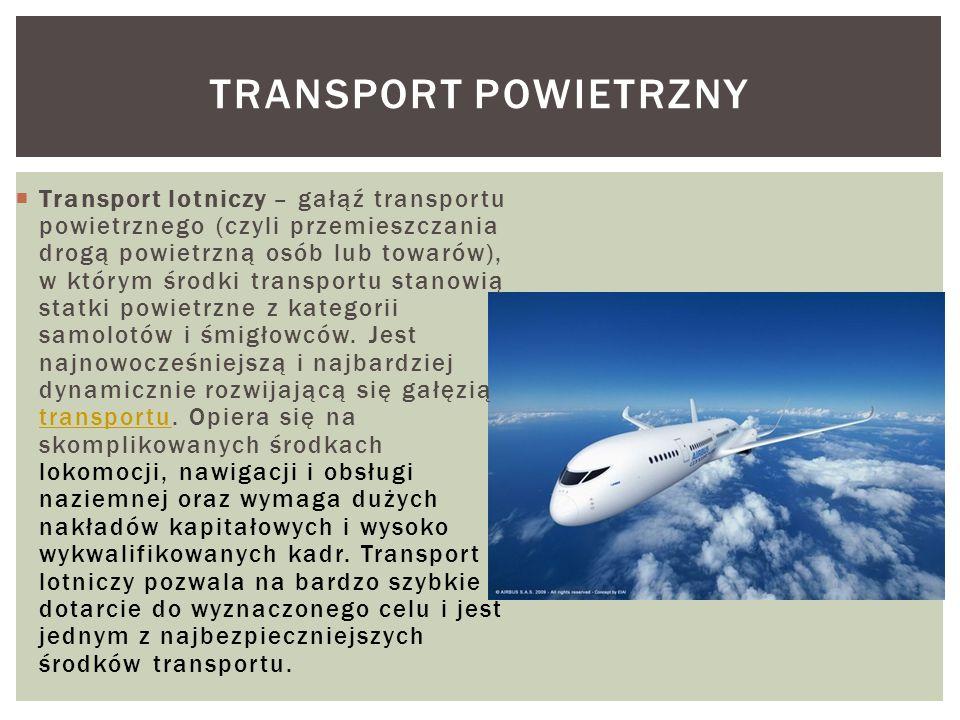 Transport lotniczy – gałąź transportu powietrznego (czyli przemieszczania drogą powietrzną osób lub towarów), w którym środki transportu stanowią stat