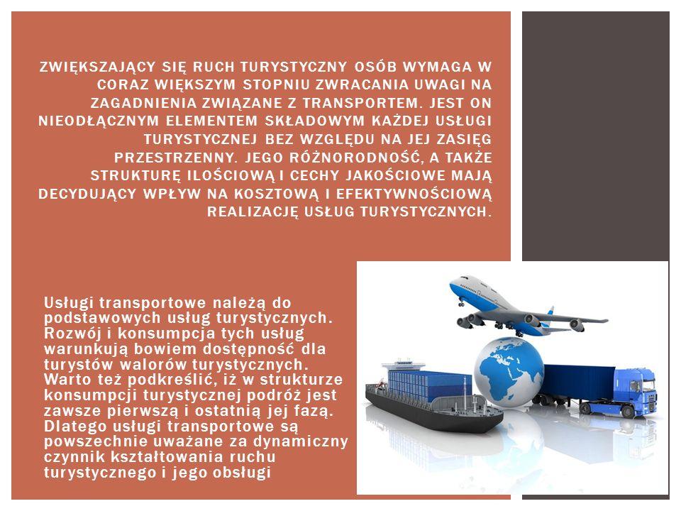 Usługi transportowe należą do podstawowych usług turystycznych. Rozwój i konsumpcja tych usług warunkują bowiem dostępność dla turystów walorów turyst
