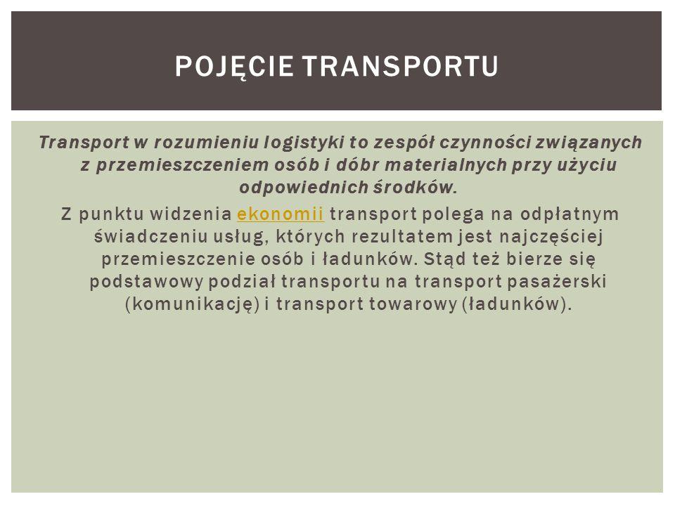 Transport w rozumieniu logistyki to zespół czynności związanych z przemieszczeniem osób i dóbr materialnych przy użyciu odpowiednich środków. Z punktu
