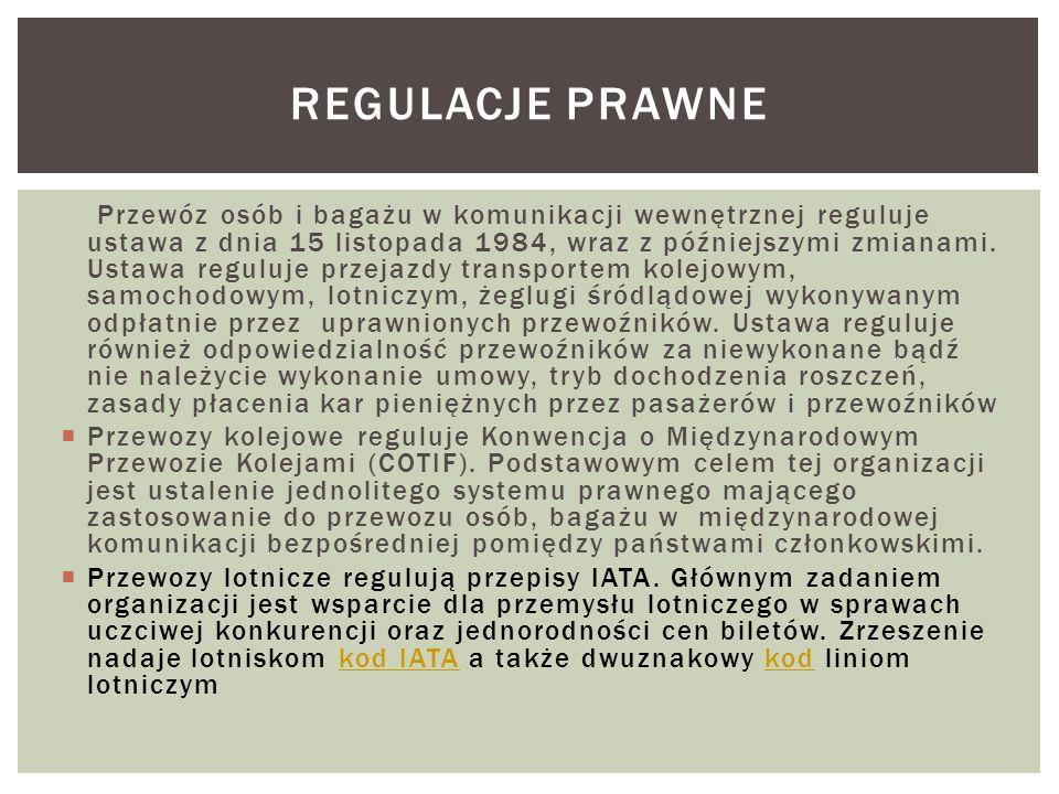 Przewóz osób i bagażu w komunikacji wewnętrznej reguluje ustawa z dnia 15 listopada 1984, wraz z późniejszymi zmianami. Ustawa reguluje przejazdy tran