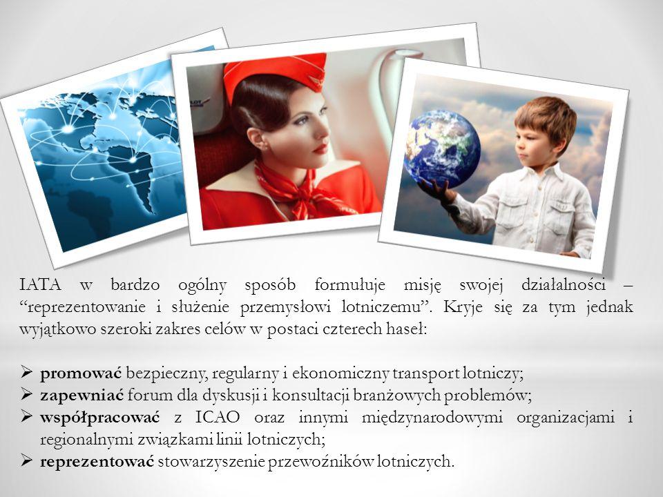 IATA w bardzo ogólny sposób formułuje misję swojej działalności – reprezentowanie i służenie przemysłowi lotniczemu. Kryje się za tym jednak wyjątkowo
