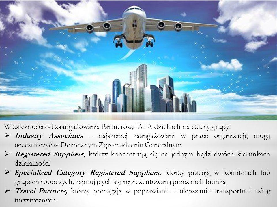 W zależności od zaangażowania Partnerów, IATA dzieli ich na cztery grupy: Industry Associates – najszerzej zaangażowani w prace organizacji; mogą ucze