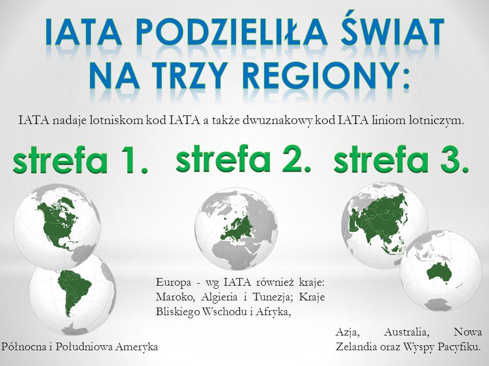 IATA nadaje lotniskom kod IATA a także dwuznakowy kod IATA liniom lotniczym. Europa - wg IATA również kraje: Maroko, Algieria i Tunezja; Kraje Bliskie