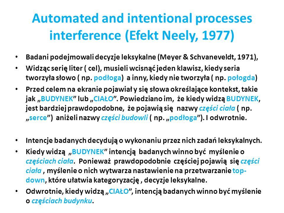 Automated and intentional processes interference (Efekt Neely, 1977) Badani podejmowali decyzje leksykalne (Meyer & Schvaneveldt, 1971), Widząc serię