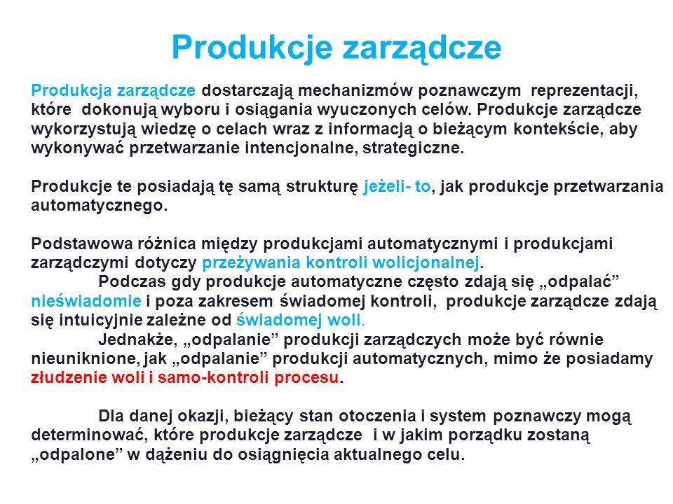 Produkcje zarządcze Produkcja zarządcze dostarczają mechanizmów poznawczym reprezentacji, które dokonują wyboru i osiągania wyuczonych celów. Produkcj