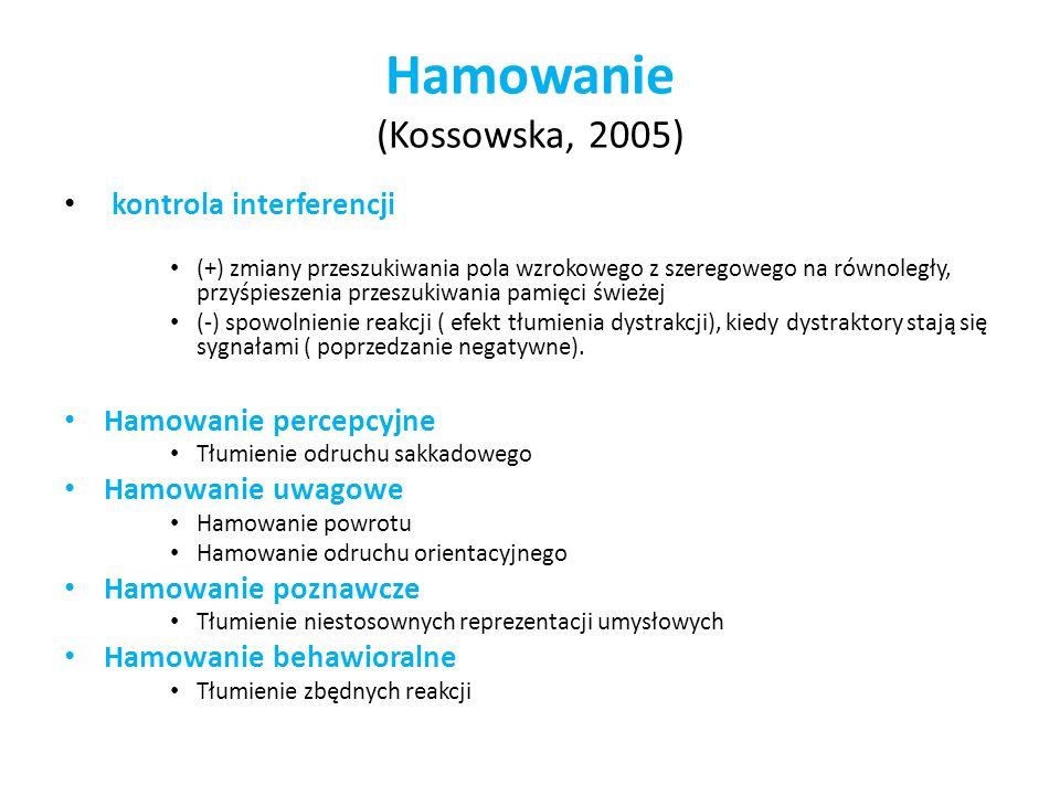 Hamowanie (Kossowska, 2005) kontrola interferencji (+) zmiany przeszukiwania pola wzrokowego z szeregowego na równoległy, przyśpieszenia przeszukiwani