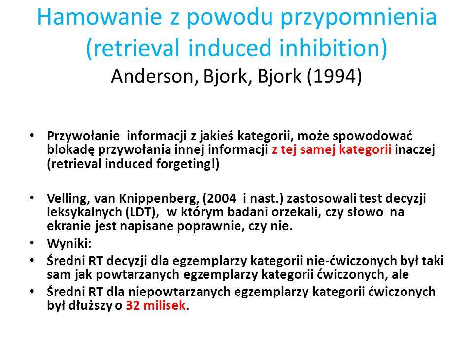 Hamowanie z powodu przypomnienia (retrieval induced inhibition) Anderson, Bjork, Bjork (1994) Przywołanie informacji z jakieś kategorii, może spowodow