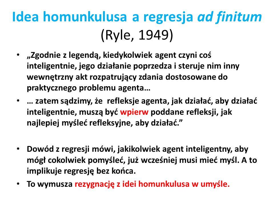 Idea homunkulusa a regresja ad finitum (Ryle, 1949) Zgodnie z legendą, kiedykolwiek agent czyni coś inteligentnie, jego działanie poprzedza i steruje
