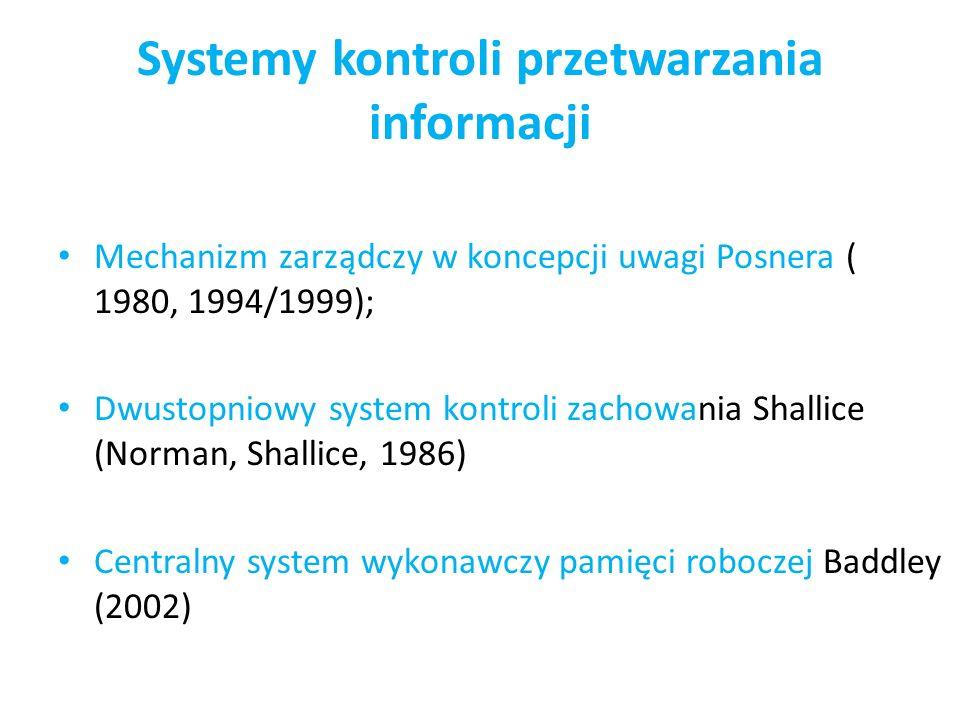 Systemy kontroli przetwarzania informacji Mechanizm zarządczy w koncepcji uwagi Posnera ( 1980, 1994/1999); Dwustopniowy system kontroli zachowania Sh