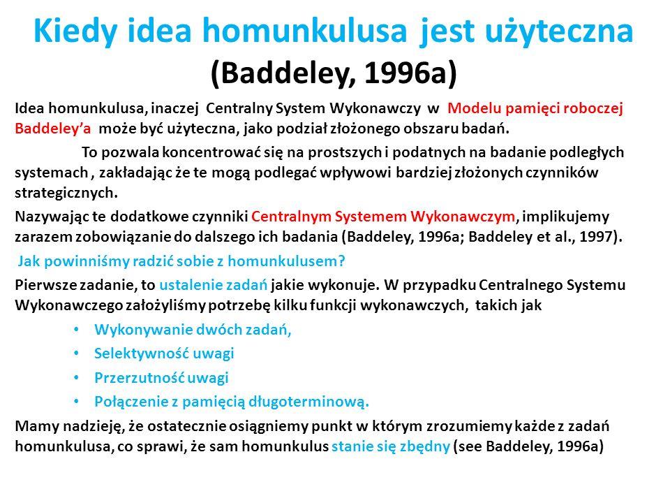 Kiedy idea homunkulusa jest użyteczna (Baddeley, 1996a) Idea homunkulusa, inaczej Centralny System Wykonawczy w Modelu pamięci roboczej Baddeleya może