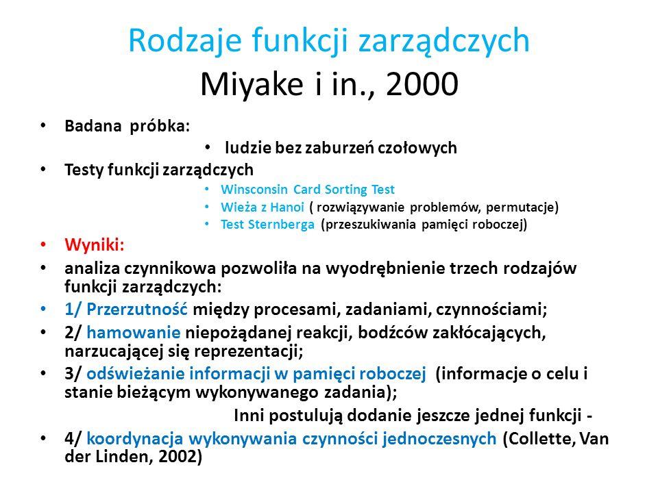 Rodzaje funkcji zarządczych Miyake i in., 2000 Badana próbka: ludzie bez zaburzeń czołowych Testy funkcji zarządczych Winsconsin Card Sorting Test Wie