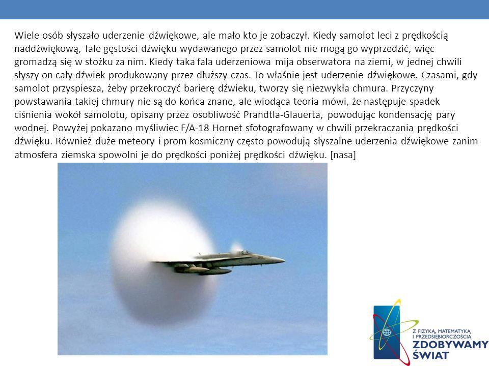 Wiele osób słyszało uderzenie dźwiękowe, ale mało kto je zobaczył. Kiedy samolot leci z prędkością naddźwiękową, fale gęstości dźwięku wydawanego prze