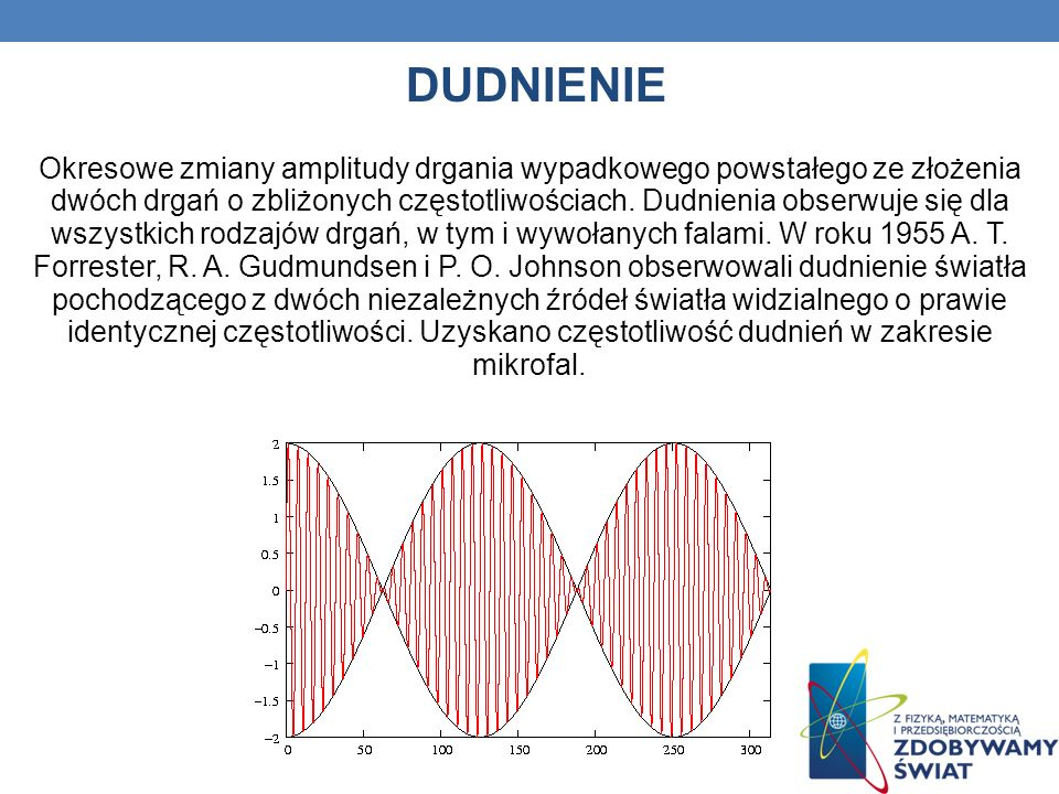 DUDNIENIE Okresowe zmiany amplitudy drgania wypadkowego powstałego ze złożenia dwóch drgań o zbliżonych częstotliwościach. Dudnienia obserwuje się dla