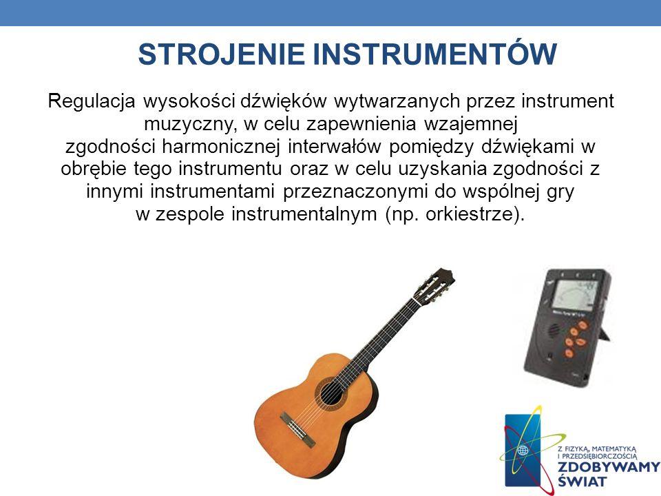 STROJENIE INSTRUMENTÓW Regulacja wysokości dźwięków wytwarzanych przez instrument muzyczny, w celu zapewnienia wzajemnej zgodności harmonicznej interw