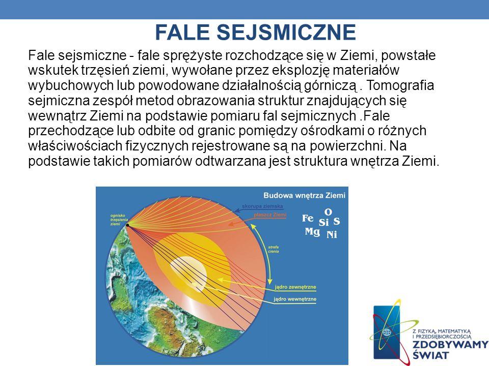 FALE SEJSMICZNE Fale sejsmiczne - fale sprężyste rozchodzące się w Ziemi, powstałe wskutek trzęsień ziemi, wywołane przez eksplozję materiałów wybucho