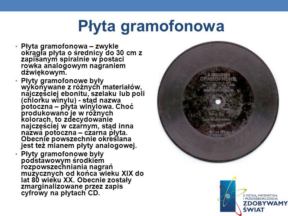 Płyta gramofonowa Płyta gramofonowa – zwykle okrągła płyta o średnicy do 30 cm z zapisanym spiralnie w postaci rowka analogowym nagraniem dźwiękowym.