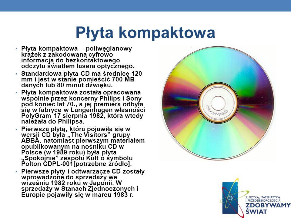 Płyta kompaktowa Płyta kompaktowa poliwęglanowy krążek z zakodowaną cyfrowo informacją do bezkontaktowego odczytu światłem lasera optycznego. Standard