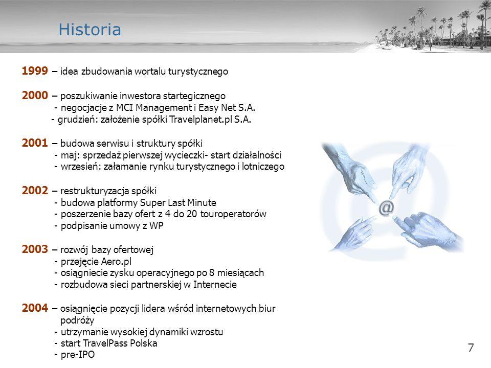 7 Historia 1999 – idea zbudowania wortalu turystycznego 2000 – poszukiwanie inwestora startegicznego - negocjacje z MCI Management i Easy Net S.A. - g