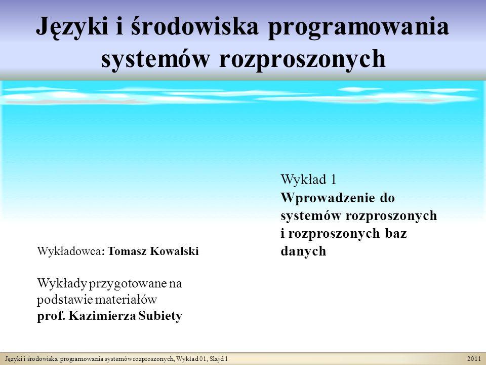 Języki i środowiska programowania systemów rozproszonych, Wykład 01, Slajd 1 2011 Języki i środowiska programowania systemów rozproszonych Wykładowca: