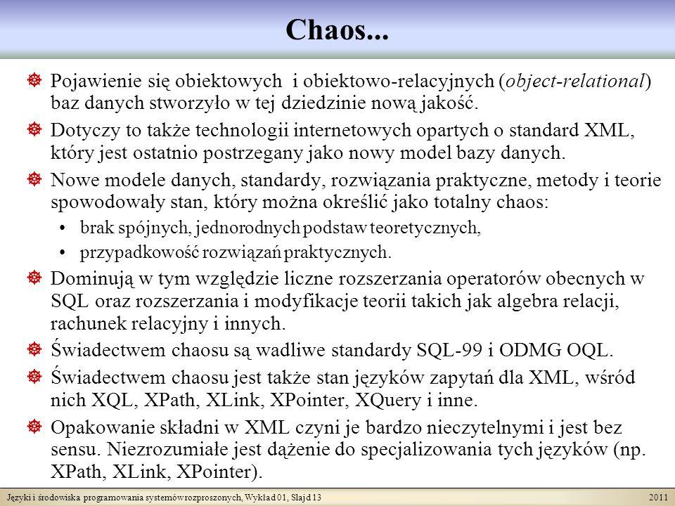 Języki i środowiska programowania systemów rozproszonych, Wykład 01, Slajd 13 2011 Chaos... Pojawienie się obiektowych i obiektowo-relacyjnych (object