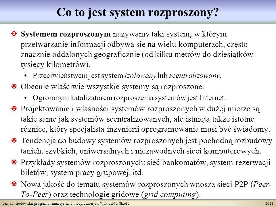 Języki i środowiska programowania systemów rozproszonych, Wykład 01, Slajd 2 2011 Co to jest system rozproszony? Systemem rozproszonym nazywamy taki s