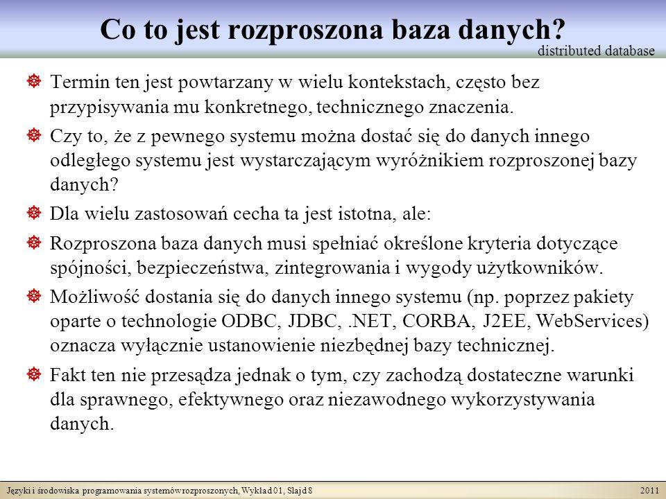 Języki i środowiska programowania systemów rozproszonych, Wykład 01, Slajd 8 2011 Co to jest rozproszona baza danych? Termin ten jest powtarzany w wie