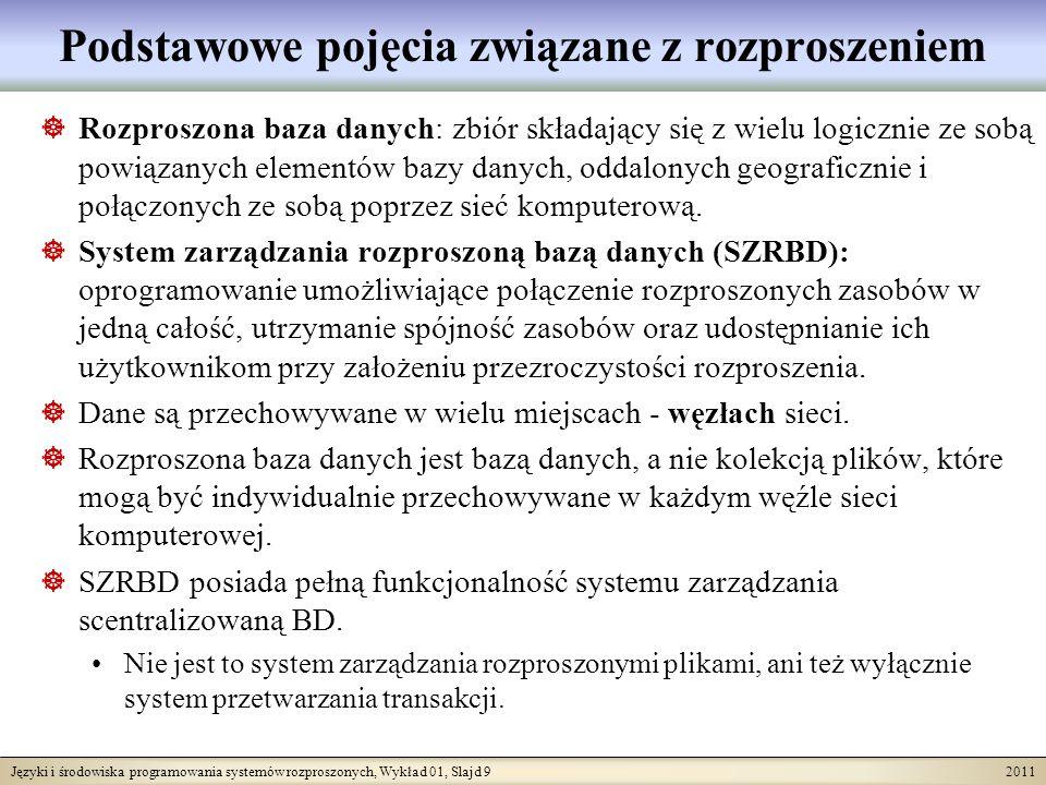 Języki i środowiska programowania systemów rozproszonych, Wykład 01, Slajd 9 2011 Podstawowe pojęcia związane z rozproszeniem Rozproszona baza danych: