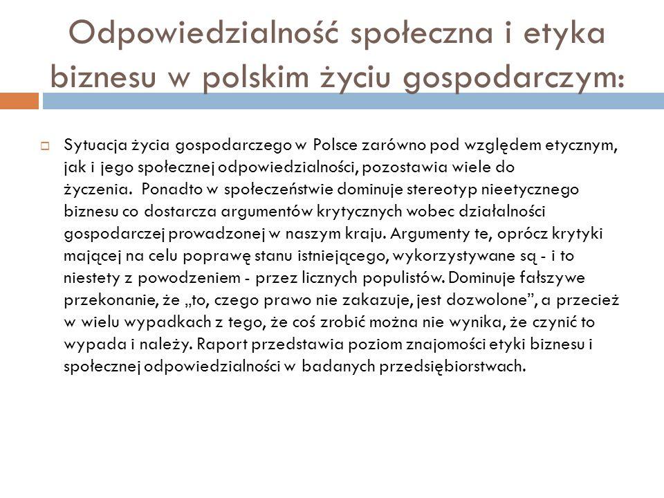 Odpowiedzialność społeczna i etyka biznesu w polskim życiu gospodarczym: Sytuacja życia gospodarczego w Polsce zarówno pod względem etycznym, jak i je