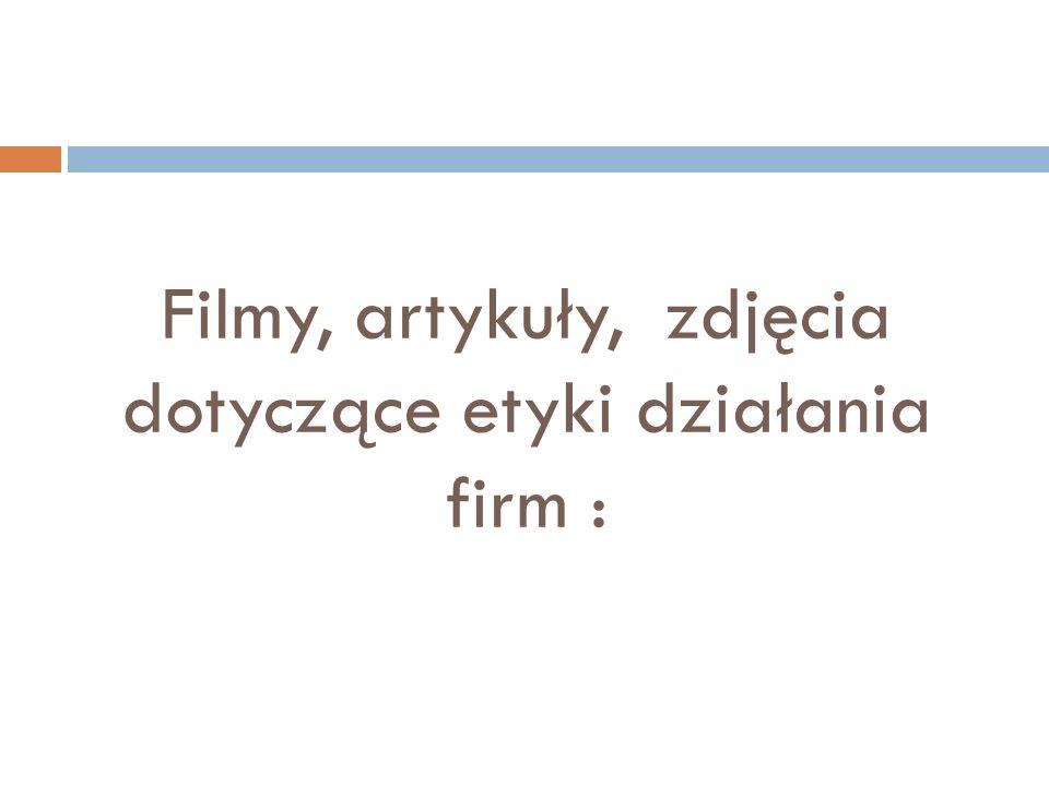 Kodeks etyki firmy : A.