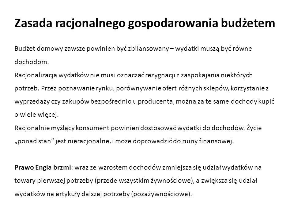 Zasada racjonalnego gospodarowania budżetem Budżet domowy zawsze powinien być zbilansowany – wydatki muszą być równe dochodom. Racjonalizacja wydatków