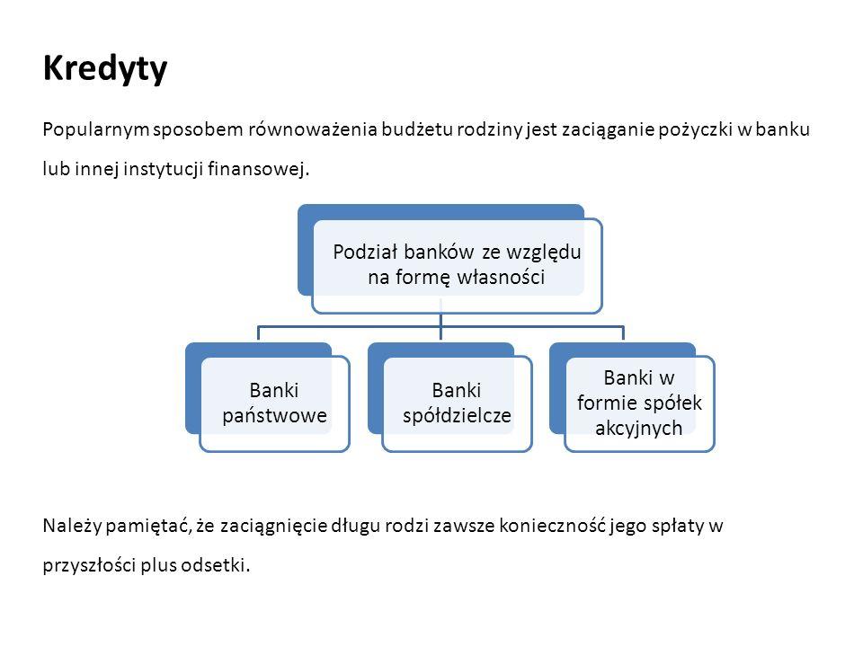 Kredyty Popularnym sposobem równoważenia budżetu rodziny jest zaciąganie pożyczki w banku lub innej instytucji finansowej. Podział banków ze względu n