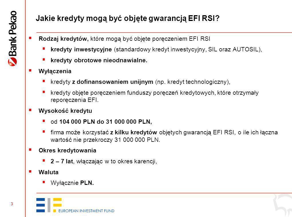 3 Jakie kredyty mogą być objęte gwarancją EFI RSI.