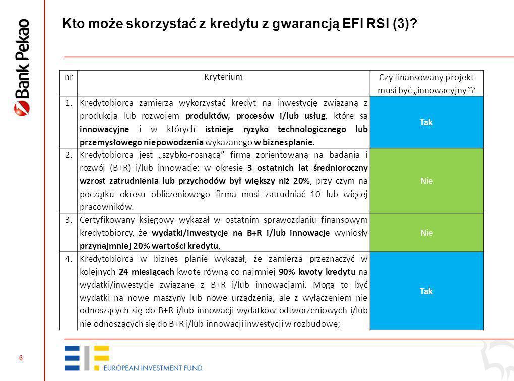 5 Przedsiębiorstwem (projekt nie musi być innowacyjny! Kredyt może być przeznaczony na projekty nie związane z B+R+I) Finansowanym przedsięwzięciem (c