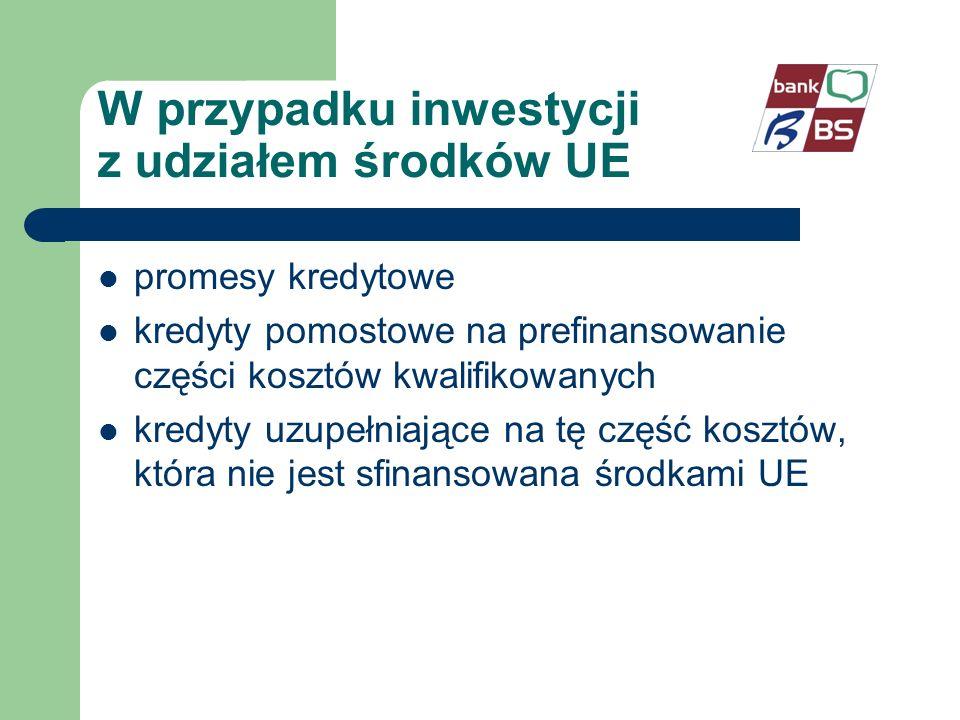 W przypadku inwestycji z udziałem środków UE promesy kredytowe kredyty pomostowe na prefinansowanie części kosztów kwalifikowanych kredyty uzupełniające na tę część kosztów, która nie jest sfinansowana środkami UE