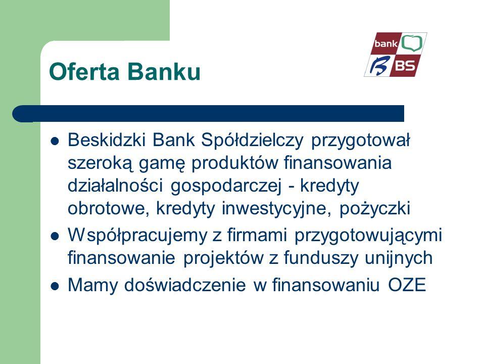 Oferta Banku Beskidzki Bank Spółdzielczy przygotował szeroką gamę produktów finansowania działalności gospodarczej - kredyty obrotowe, kredyty inwestycyjne, pożyczki Współpracujemy z firmami przygotowującymi finansowanie projektów z funduszy unijnych Mamy doświadczenie w finansowaniu OZE
