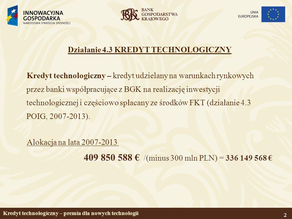 22 Kredyt technologiczny – premia dla nowych technologii Działanie 4.3 KREDYT TECHNOLOGICZNY Kredyt technologiczny – kredyt udzielany na warunkach rynkowych przez banki współpracujące z BGK na realizację inwestycji technologicznej i częściowo spłacany ze środków FKT (działanie 4.3 POIG, 2007-2013).