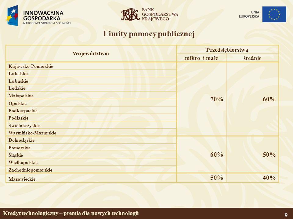 9 Limity pomocy publicznej Województwa: Przedsiębiorstwa mikro- i małeśrednie Kujawsko-Pomorskie 70%60% Lubelskie Lubuskie Łódzkie Małopolskie Opolskie Podkarpackie Podlaskie Świętokrzyskie Warmińsko-Mazurskie Dolnośląskie 60%50% Pomorskie Śląskie Wielkopolskie Zachodniopomorskie Mazowieckie 50%40% Kredyt technologiczny – premia dla nowych technologii