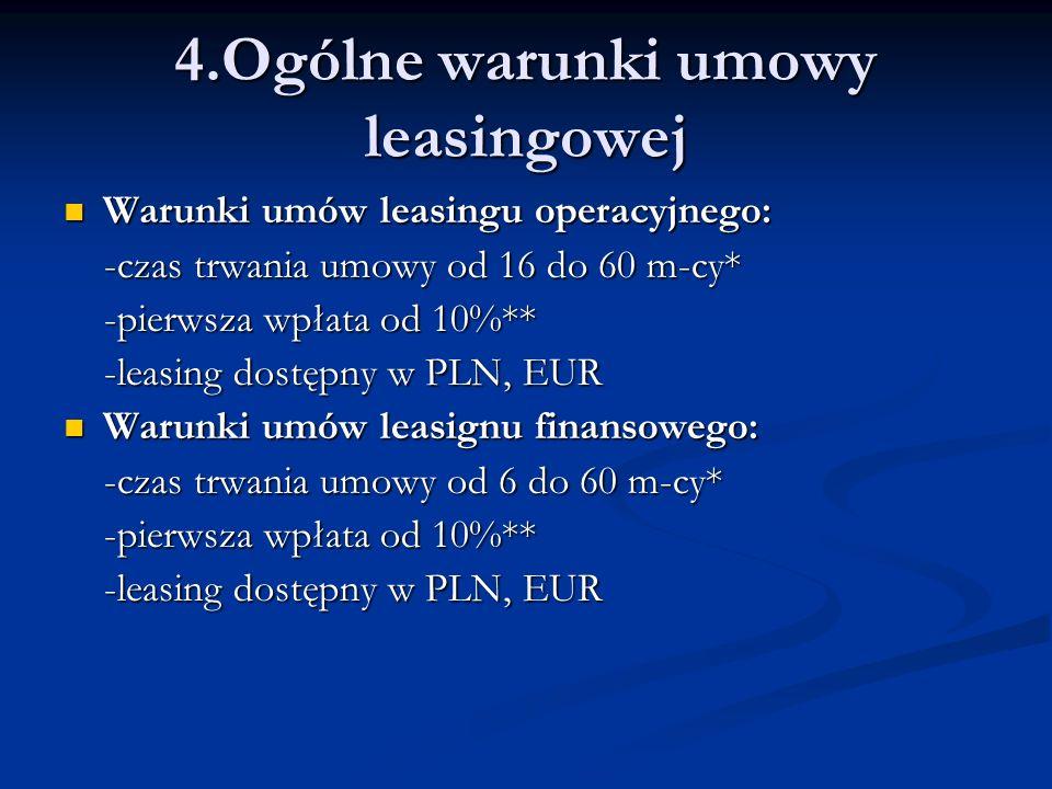 Warunki umów leasingu operacyjnego: Warunki umów leasingu operacyjnego: -czas trwania umowy od 16 do 60 m-cy* -czas trwania umowy od 16 do 60 m-cy* -p