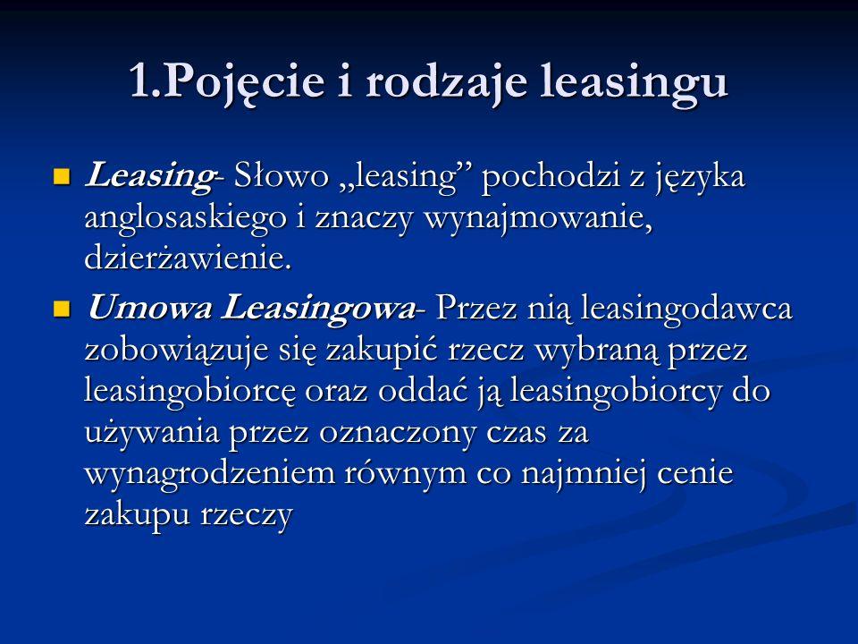1.Pojęcie i rodzaje leasingu Leasing- Słowo leasing pochodzi z języka anglosaskiego i znaczy wynajmowanie, dzierżawienie. Leasing- Słowo leasing pocho