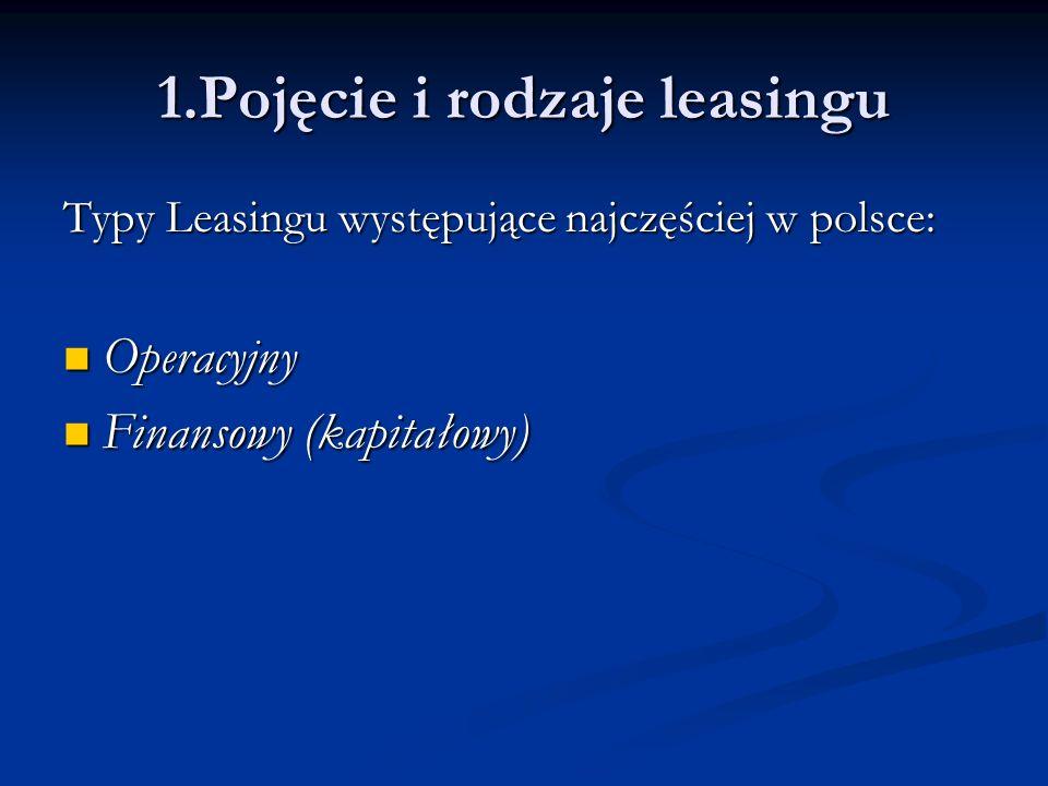 Leasing operacyjny to taki, przy którym wszystkie płatności mogą być wpisane w koszty prowadzonej działalności gospodarczej Leasing operacyjny to taki, przy którym wszystkie płatności mogą być wpisane w koszty prowadzonej działalności gospodarczej leasing finansowy to ten, przy którym kosztami są jedynie koszty finansowania kredytu leasing finansowy to ten, przy którym kosztami są jedynie koszty finansowania kredytu 1.Pojęcie i rodzaje leasingu