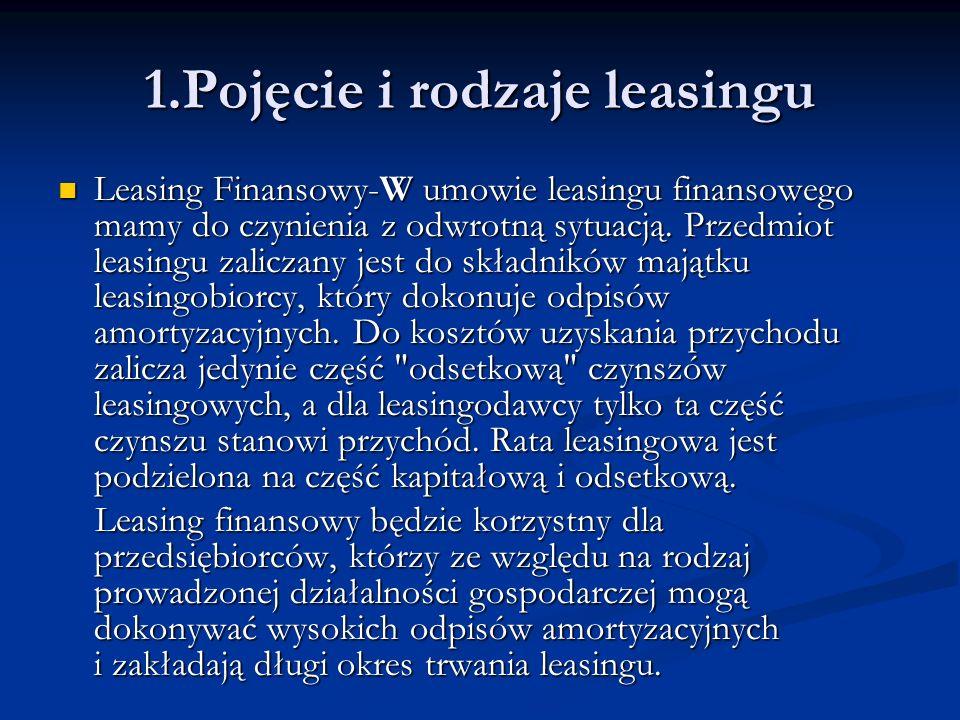 Leasing bezpośredni Leasing bezpośredni Leasingodawcą jest, bez żadnych pośredników (firm leasingowych), producent lub dostawca sprzętu.