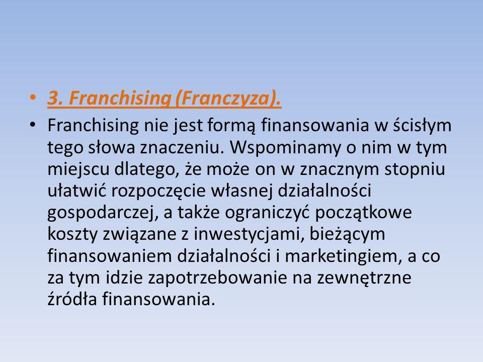 Franchising jest długoterminową umową udzielenia biorcy przez dawcę pozwolenia na używanie jego firmy tzn.