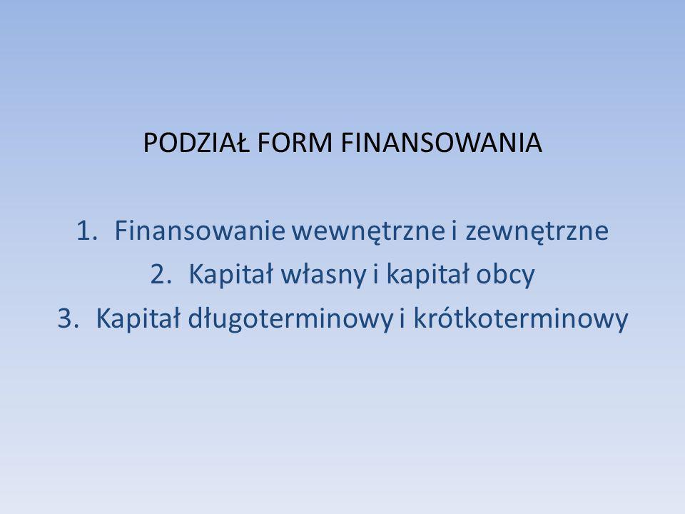FINANSOWANIE WEWNĘTRZNE 1.FINANSOWANIE Z NADWYŻKI BILANSOWEJ Często nazywane jest samofinansowaniem, a jego efektywność zależy od ogólnej efektywności przedsiębiorstwa.