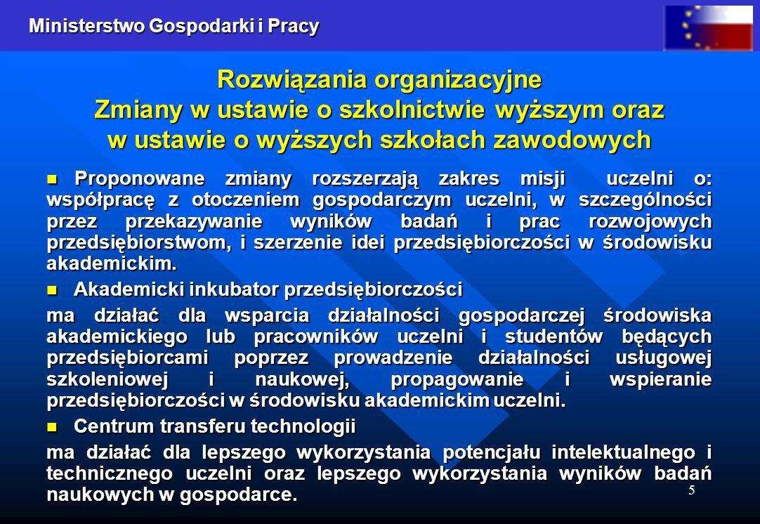 Ministerstwo Gospodarki i Pracy 5 Rozwiązania organizacyjne Zmiany w ustawie o szkolnictwie wyższym oraz w ustawie o wyższych szkołach zawodowych Prop
