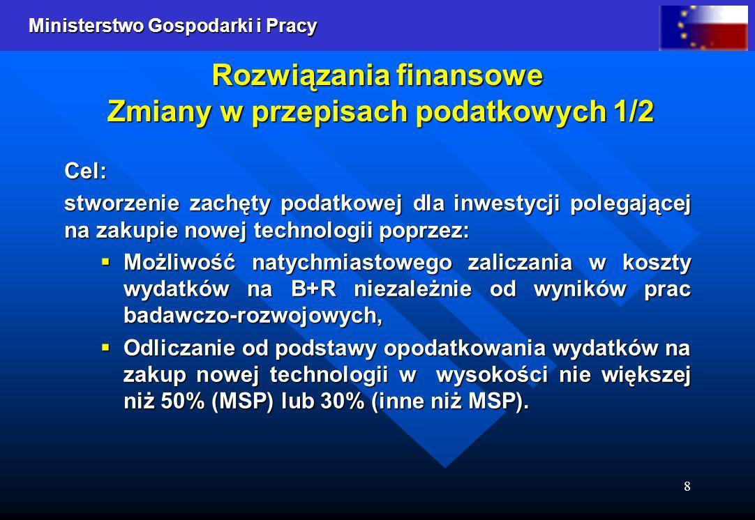 Ministerstwo Gospodarki i Pracy 9 Rozwiązania finansowe Zmiany w przepisach podatkowych 2/2 Opodatkowanie 22% stawką podatku VAT usług naukowo-badawczych (obecnie zwolnionych z tego podatku).