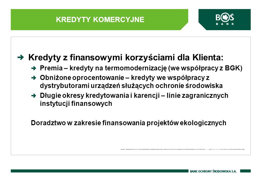 Kredyty z finansowymi korzyściami dla Klienta: Premia – kredyty na termomodernizację (we współpracy z BGK) Obniżone oprocentowanie – kredyty we współp
